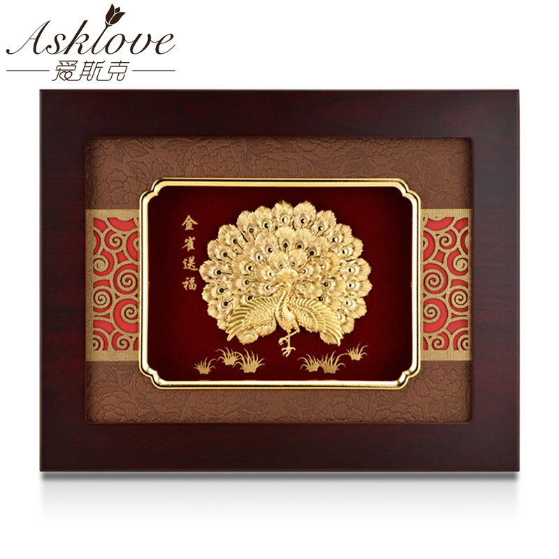 Asklove Golden peacock painting Gold Foil Painting Frame picture send Friends Gifts Wall art hanging pictures Home DecorationAsklove Golden peacock painting Gold Foil Painting Frame picture send Friends Gifts Wall art hanging pictures Home Decoration