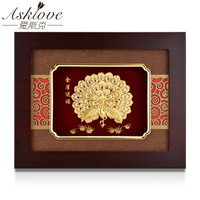 Asklove Golden peacock painting Gold Foil Painting Framed pictures send Friends Gifts Wall art hanging pictures Home Decoration