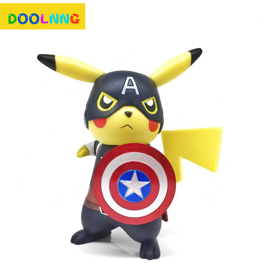 Captain America Dress up Pikachu Anime Pocket Monster Cute Cartoon Model Desktop Decorative Ornaments Child's Christmas Gift new cartoon pikachu cosplay cap black novelty anime pocket monster ladies dress pokemon go hat charms costume props baseball cap
