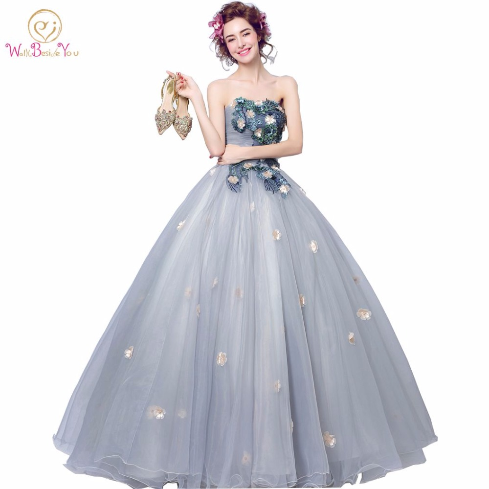Walk Beside You Real Gray Evening Dresses Floral Sequined Strapless ...