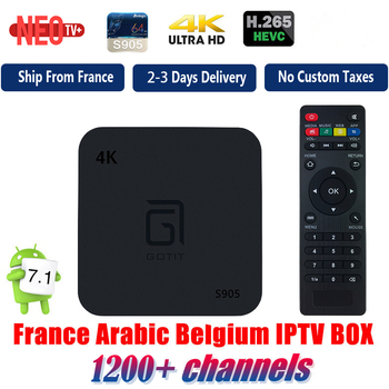GOTIT Android TV Box with 1 Year 1200 Arabic French Belgium IPTV subscription football france Live Channels free smart 4K TV Box