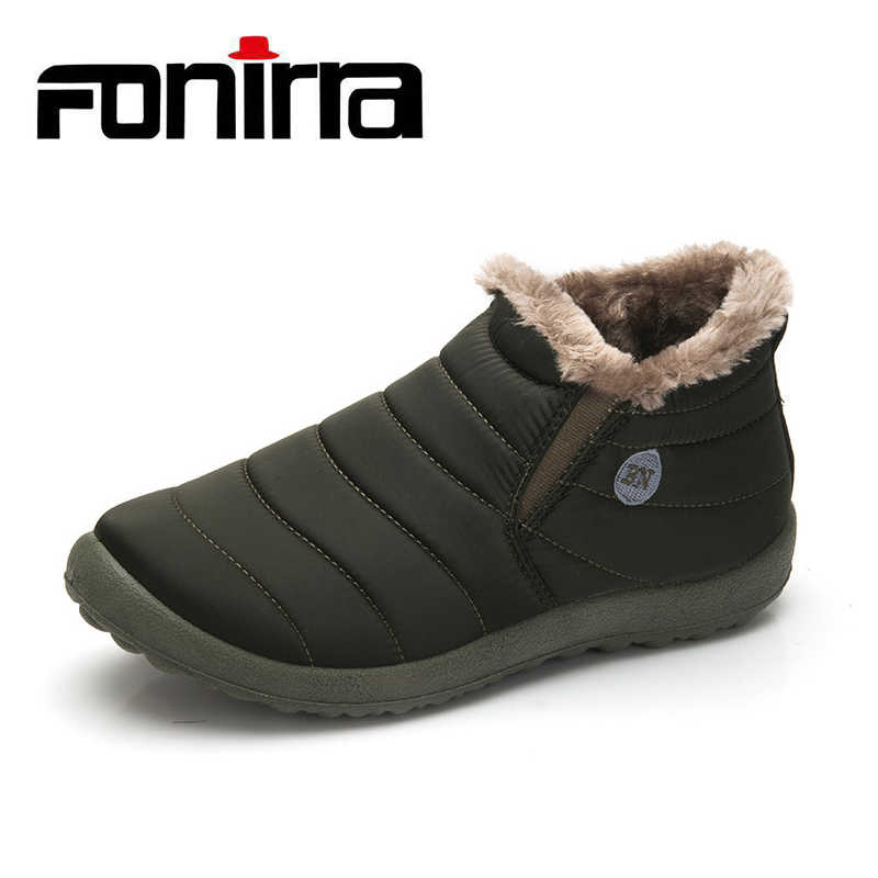 FONIRRA Men Snow Boots Solid Color Warming Fabric Slip-on Ankle Boots for Male Winter Outdoor Shoes Big size 38-48 261