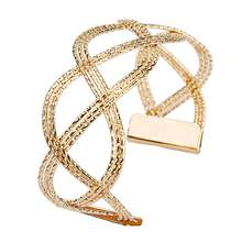 Pop Geometric Design Luxury Fashion Women's Punk Style Gold Color Charm Hollow Cuff Bangle Bracelet Women Jewelry(China)