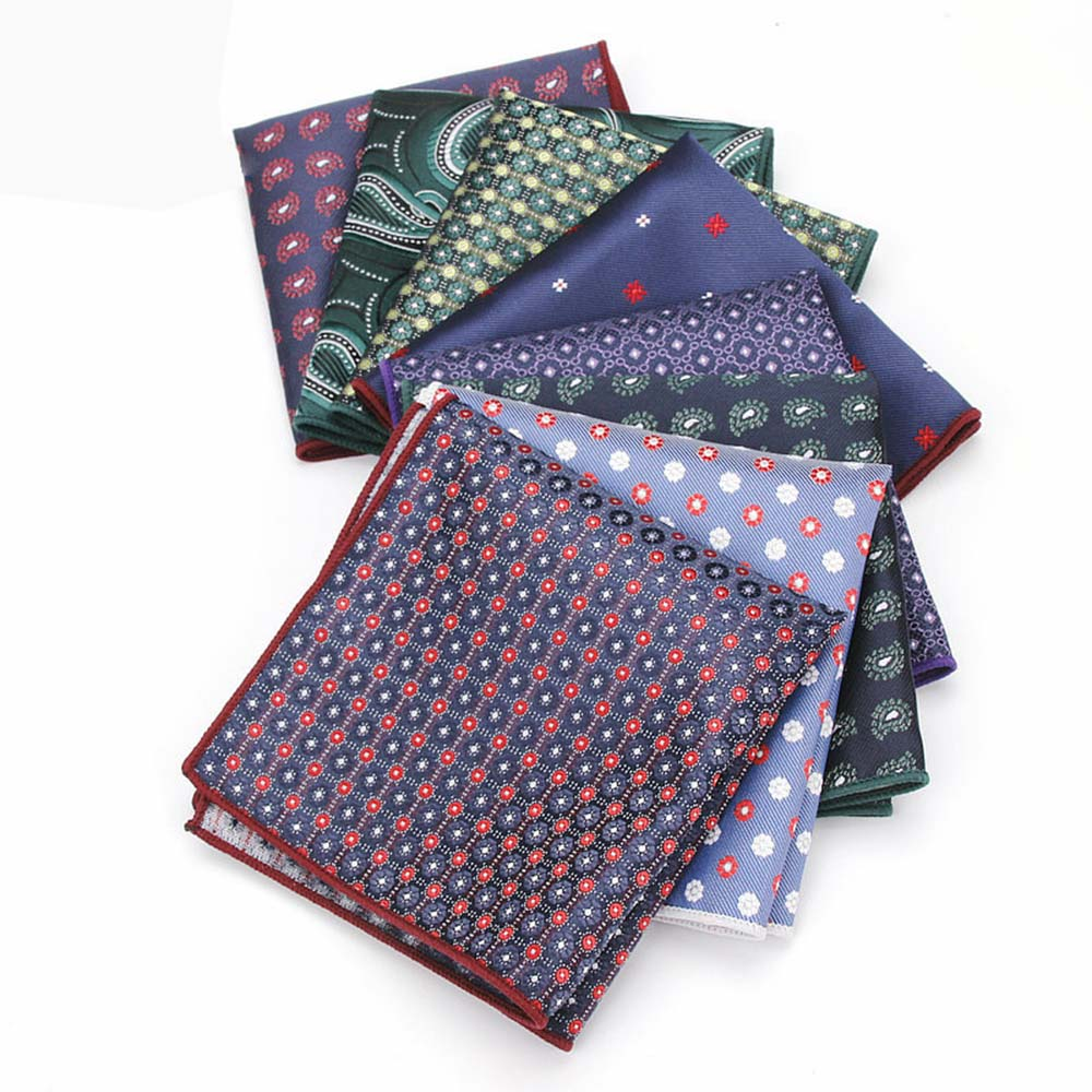 HUISHI Floral Pocket Square Jacquard  Paisley Pocket Square Hanky Suits Pocket Square Men