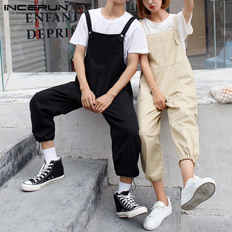 INCERUN 2020 Men Jumpsuit Wide Leg Pants Solid Rompers Loose Pockets Casual Suspenders Trousers Men Cargo Overalls Streetwear