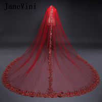 JaneVini Red Graceful Bridal Veils 3 Meters Long One Layer Gold Sequins Lace Applique Bridal Veil With Comb Wedding Accessories