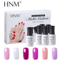 HNM 6 pcs/lot Gel à ongles Kit Ensemble UV led faire tremper au large Semi Perment Gel vernis à ongles Ensemble Pur Couleur Gel Vernis Hybride Colle gelpolish Kit