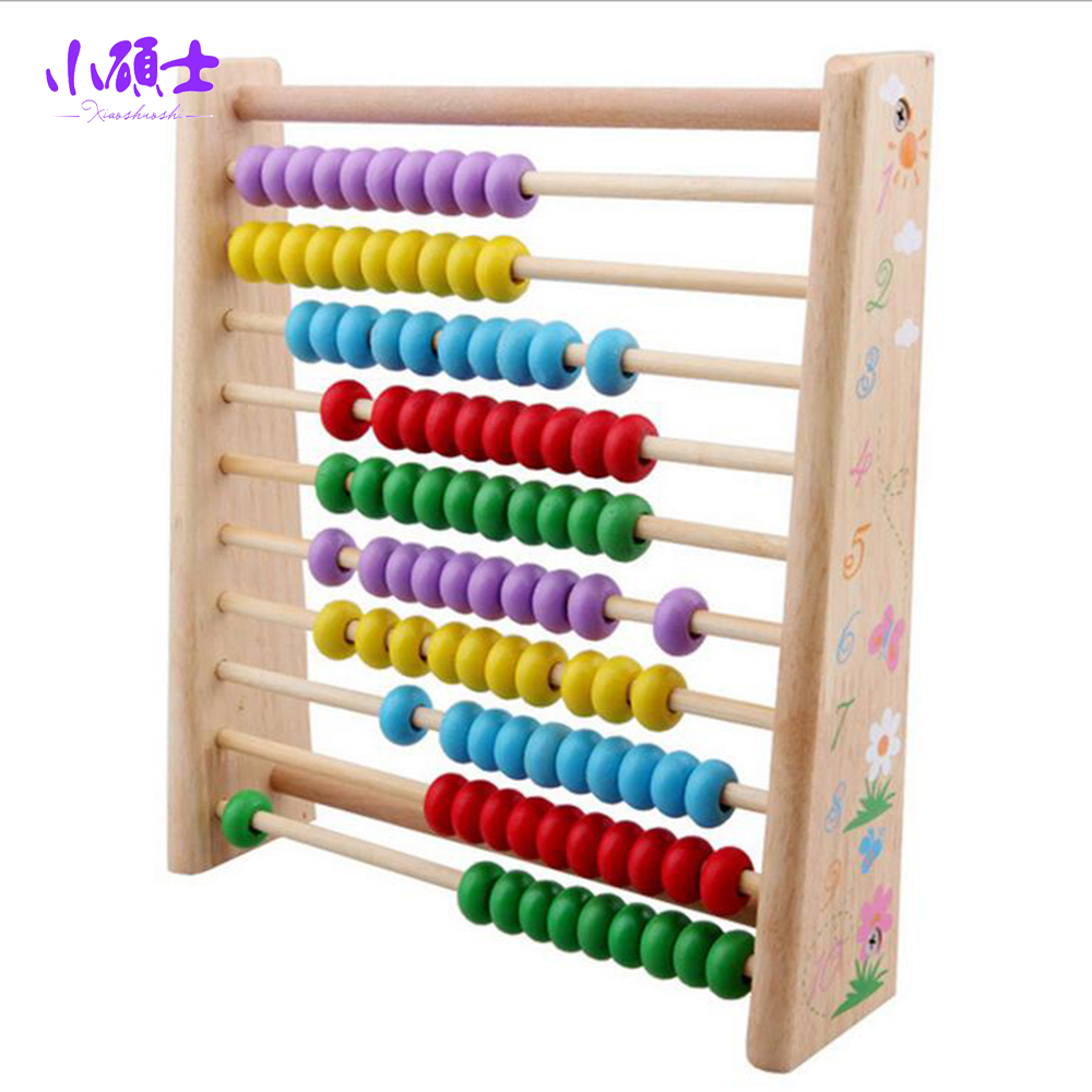 10-Row Wooden Beads Calculation Frame Abacus For Children Kids Learning Educational Math Traning Teaching Tool Toys Gift