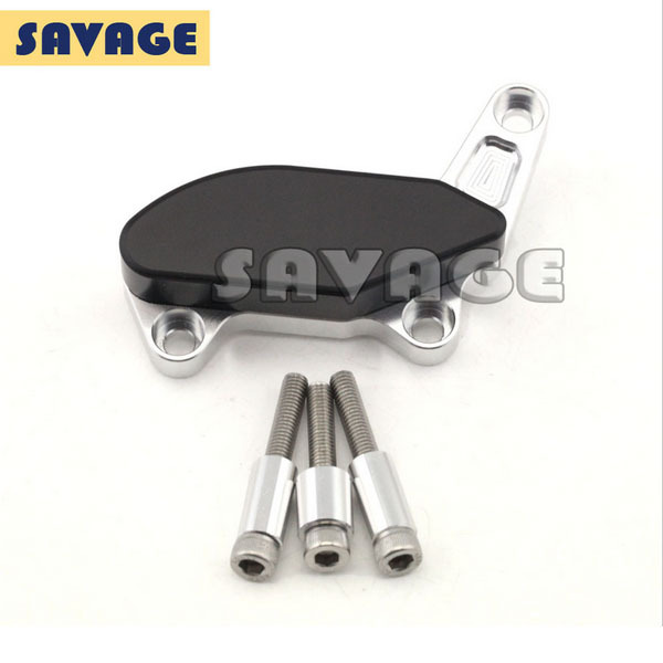 ФОТО Motorcycle Left Side Frame Slider Water Pump Protector Cover Silver For Ducati Monster 1100/S/EVO 1200/S
