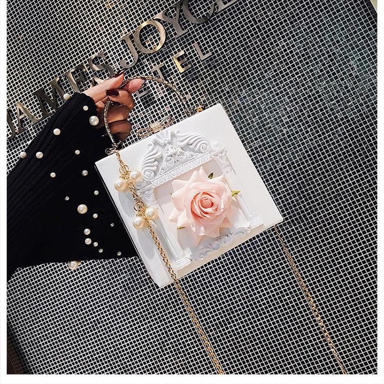 2018 NEW Rose 3D Palace Sculpture Frame Bag Luxury Handbags Women Party Bags Designer Lady Cute Shoulder Messenger Bag Sac Tote 28