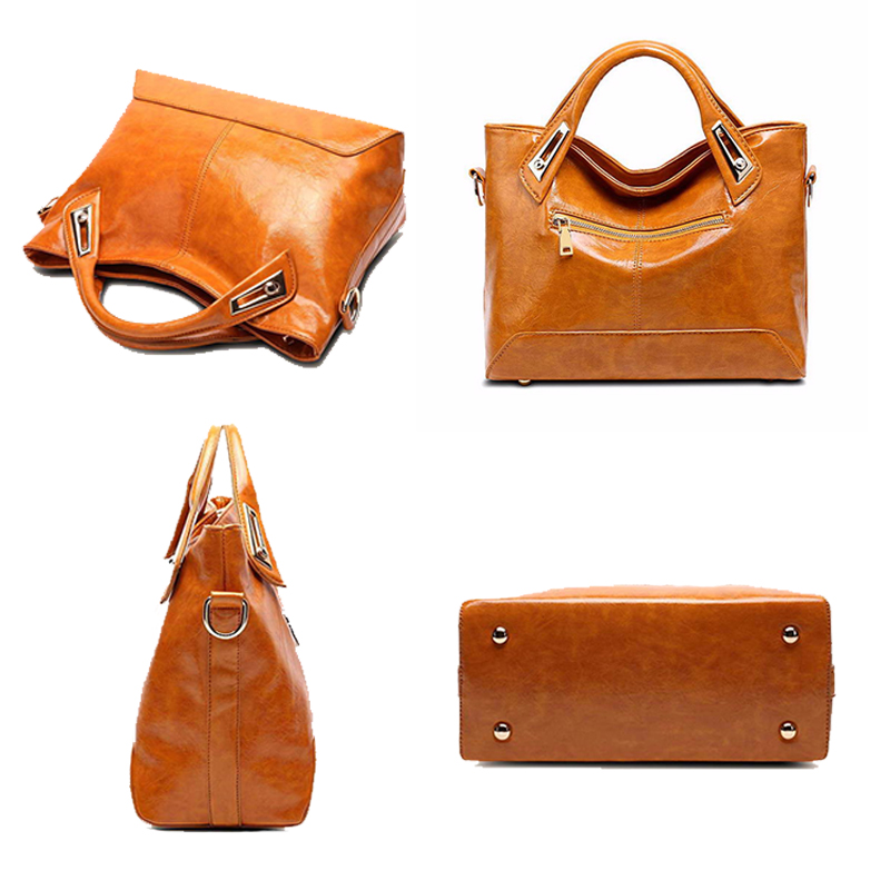 Image 3 - Women Oil Wax Leather Designer Handbags High Quality Shoulder Bags Ladies Handbags Fashion brand PU leather women bags WLHB1398bag tennisbag picnicbag clutch -