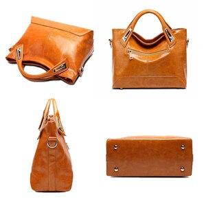 Image 3 - Women Oil Wax Leather Designer Handbags High Quality Shoulder Bags Ladies Handbags Fashion brand PU leather women bags WLHB1398