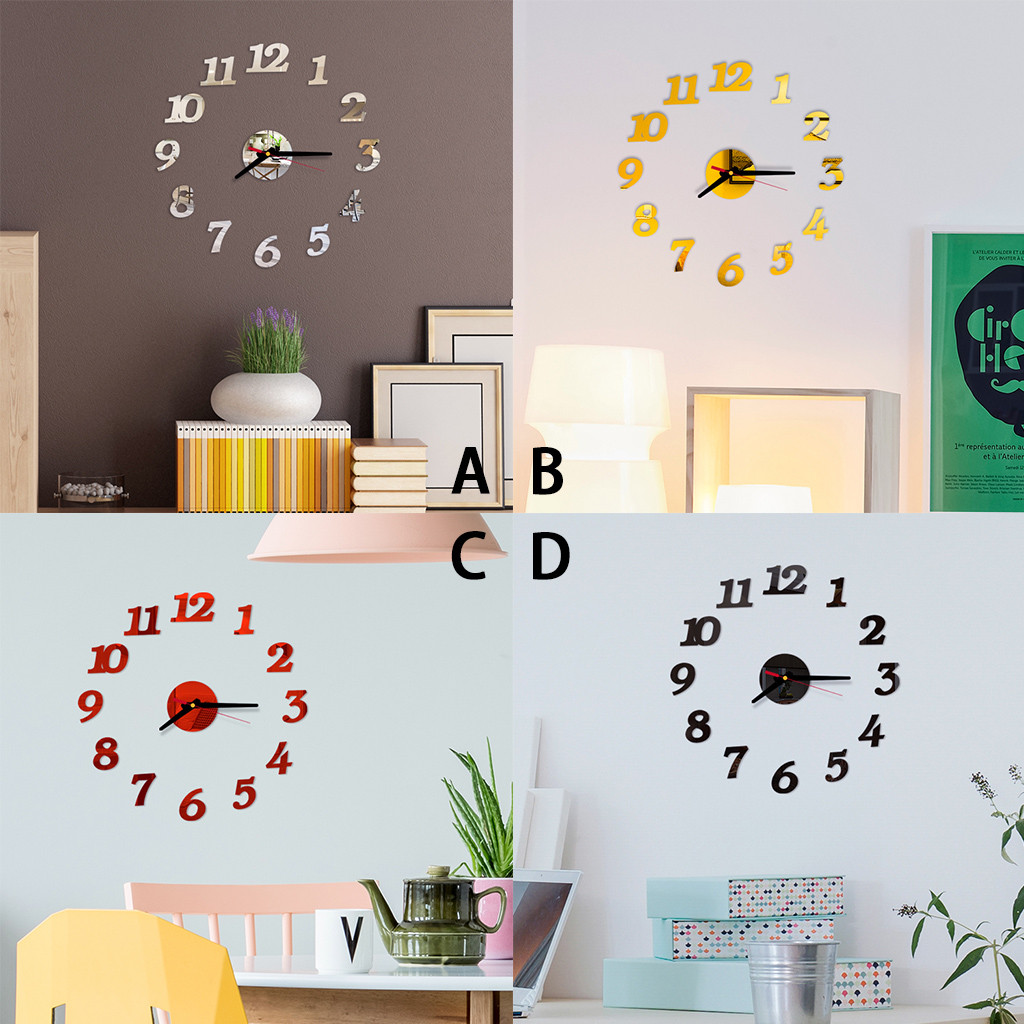 3D Modern DIY Large Number Acrylic Glass Mirror Wall Sticker Watch Home Decor Art Clock Mural Decals Gift Drop Shipping