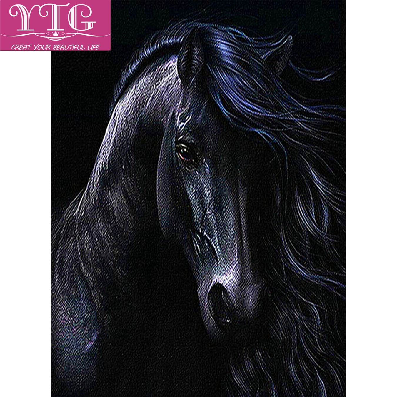 Black,Horse,Diamond Embroidery,Animal,Full,Diamond Painting,Cross Stitch,5D,Needlework,Round Rhinestone,Mosaic,Decoration,Gift vacation