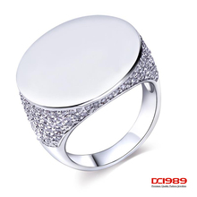 DC1989 Rings For Women Gold Rhodium Plated Synthetic Cubic Zirconia Paved Mirror Face Lead Free High Polish Bridal Jewellery
