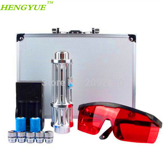 עט מצביע לייזר אור הכחול 450nm FSHTI הכי חדש גובה איכות Power Beam ראש 5 עם 2x16340 עם מטען עם משקפי