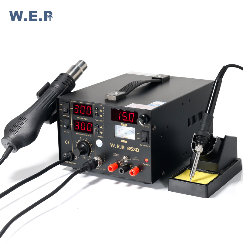 WEP 853D Soldering Station Soldering Iron Rework Station With DC Power Supply 3 In 1 Welding Equipment