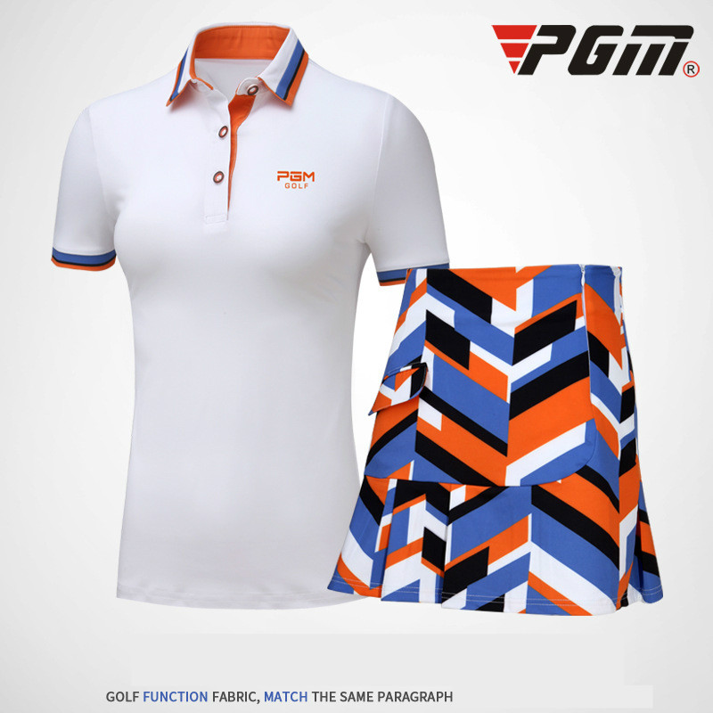 2018 PGM golf sport suit golf short sleeve shirt skirt summer breathable quick-drying go ...