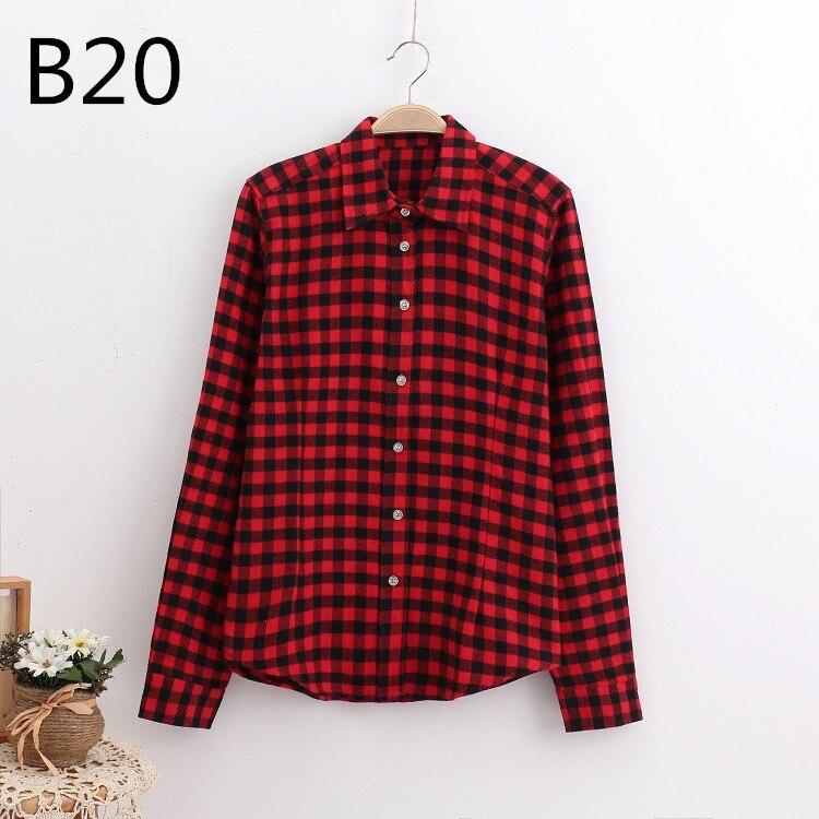 2018 Fashion Plaid Shirt Female College Style Women's Blouses Long Sleeve Flannel Shirt Plus Size Casual Blouses Shirts M-5XL 41