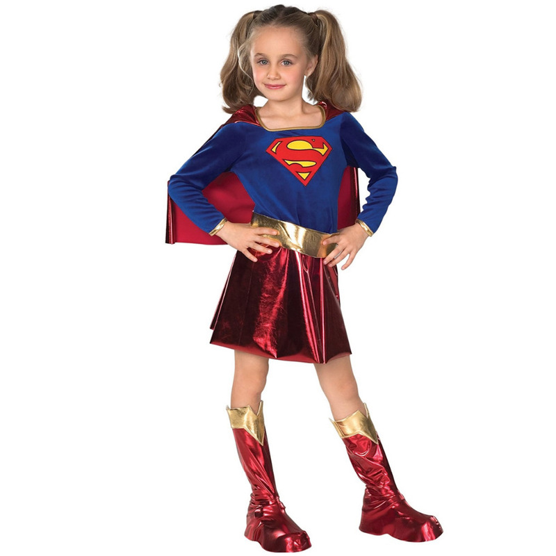 Kids Child Girls Supergirls Superman Cosplay Costume Children's Day Halloween Fancy Dress Superhero Costume