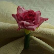 Ручная работа Шелковое Розовое Кольцо-цветок для салфетки, держатель для салфеток