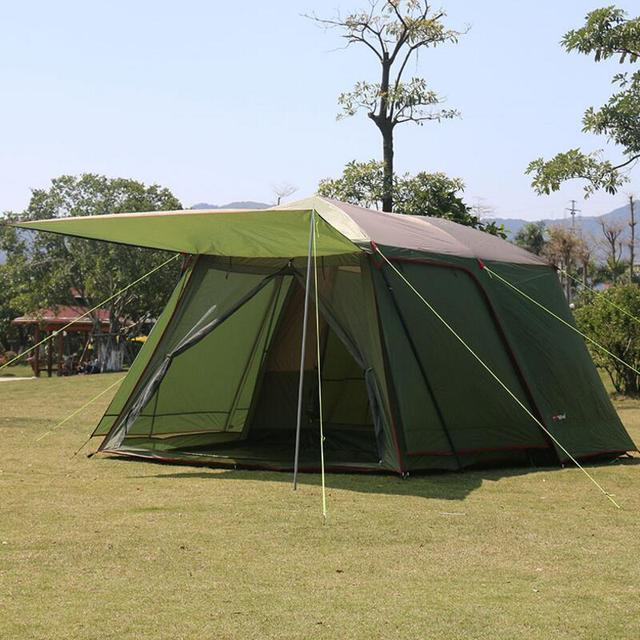 5-8 Person Outdoor Tourist Tent Waterproof Windproof Double Layer Large Camping Family Travel Tents Outdoor Camping Equipment