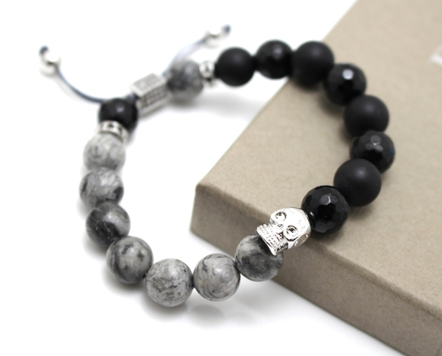 Cool Men Bracelet, quality natural stone beads & 10mm Micro Pave CZ black knitted lace bracelet men Gifts