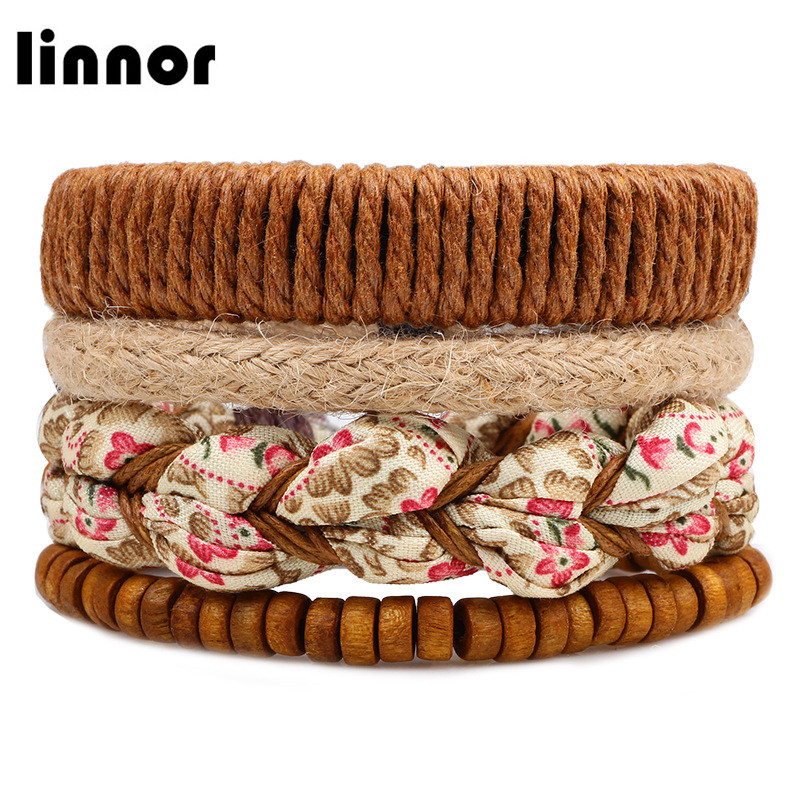 Linnor 2017 New Romantic 4pcs/set Braided Rope Bracelet for Women Cloth Flowers Wood Bea ...