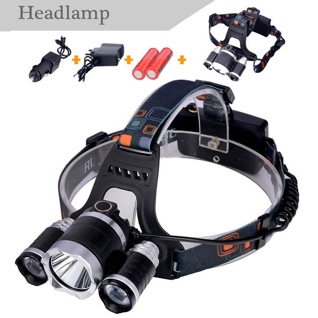 LED T6 Headlight , Camping, fishing lights, light T6+2 R5 LED Headlamp Outdoor Lights + 2* 18650 Battery + Charger + Car Charger