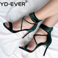 2019 Summer Sexy Women 10cm High Heels Sandals Plus Size Wedding Velvet Heels Strappy Pumps Scarpins Stiletto Bridal Green Shoes
