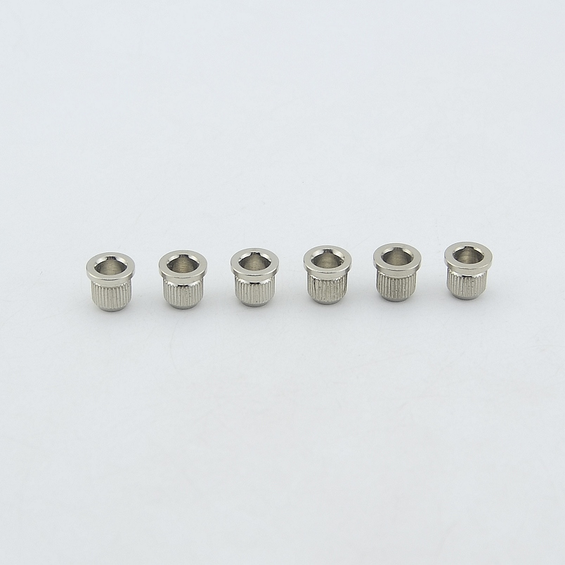 1 Set (6Pcs) GuitarFamily Through Body String Ferrules / String Bushings  For Electric Guitar Nickel  ( #0769 ) MADE IN KOREA