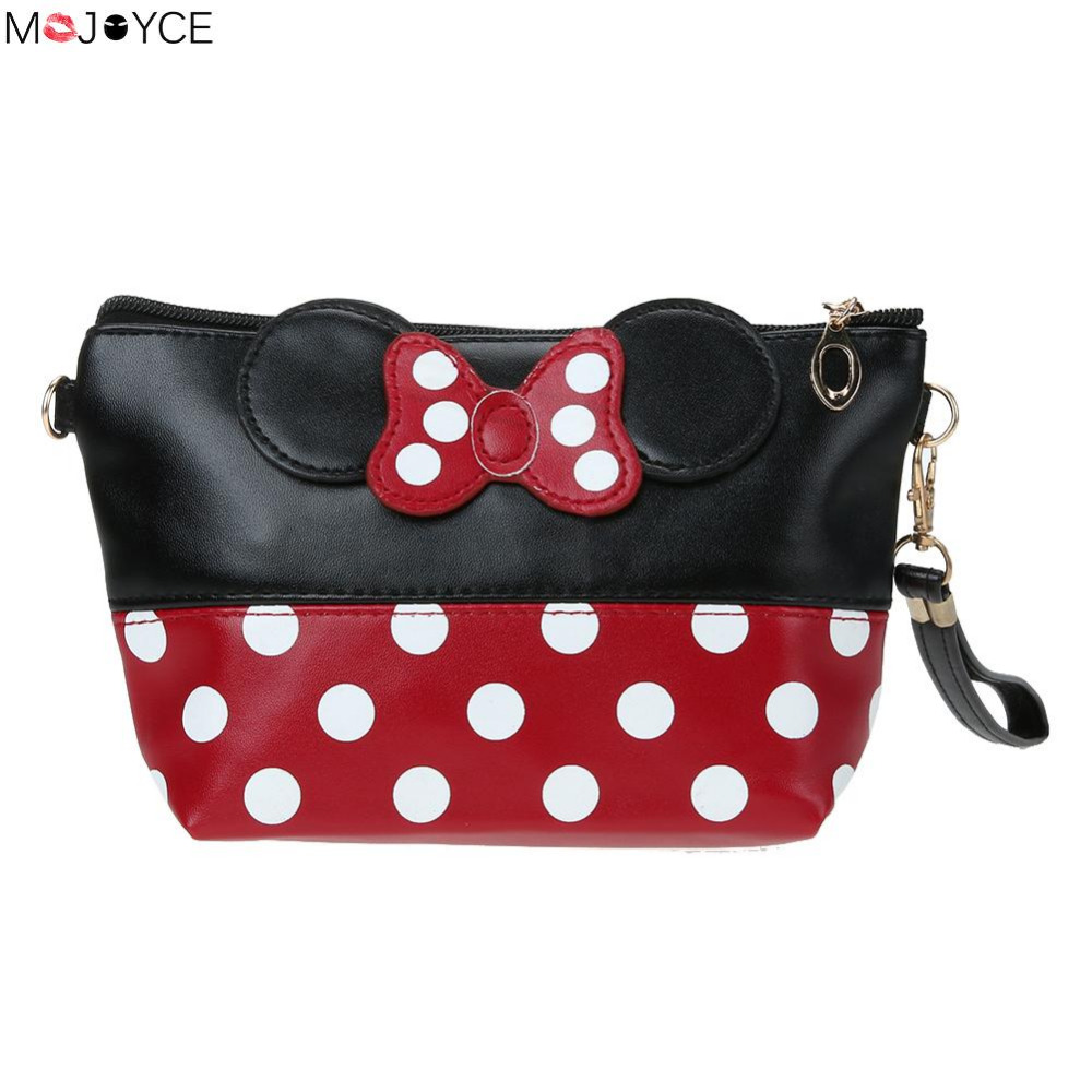 Women Dot Bow Mouse Cosmetic Bag PU Wash Organizer Make Up Case Girls Portable Travel Toiletry Bag High Quality cosmetic bag HOT