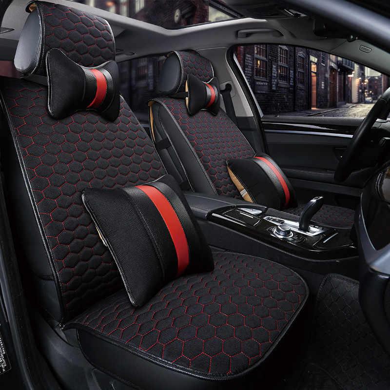 Универсальный Чехлы на автомобильные сиденья мягкий дышащий Лен Ткани для