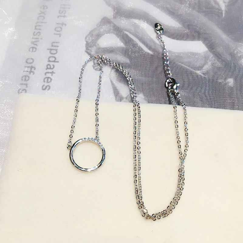 Collier pendentif rond minimalisme haut de gamme couleur or Rose Micro pavé Zircon cubique collier pour les femmes