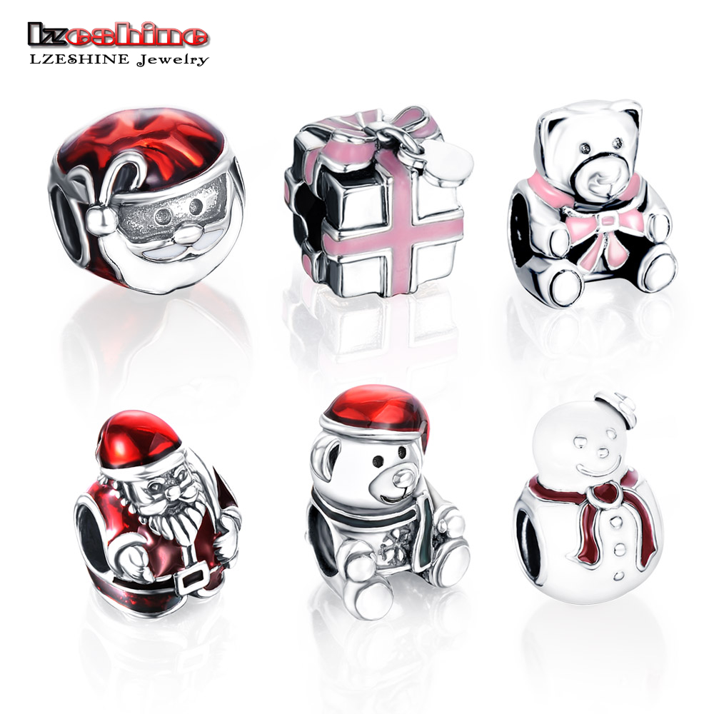 d841d0d54097 LZESHINE 100% plata esterlina 925 estilo de Navidad encanto Original pulsera  marca joyería de plata PSMB0006