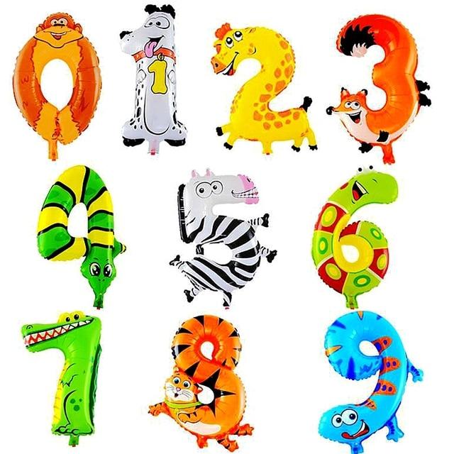 Kartun Kebun Binatang Hewan Nomor Foil Balon Anak Pesta Ulang Tahun
