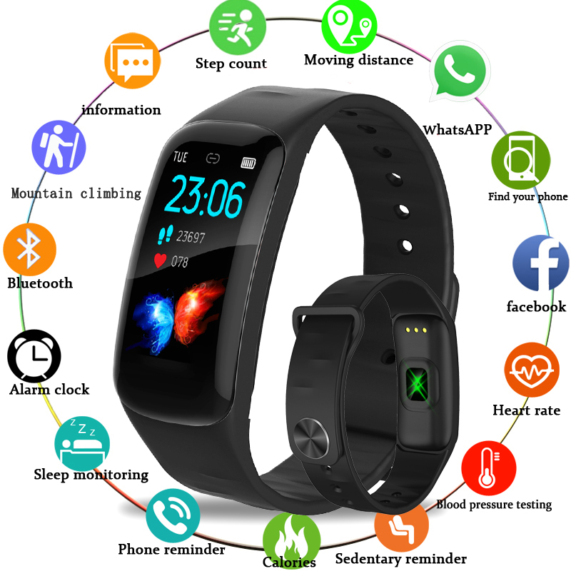 LIGE Sports smart watch Men IP67 Waterproof Fitness Tracker 1.14 Large Screen Blood Pressure Heart Rate Monitor For Android ios-in Smart Wristbands from Consumer Electronics