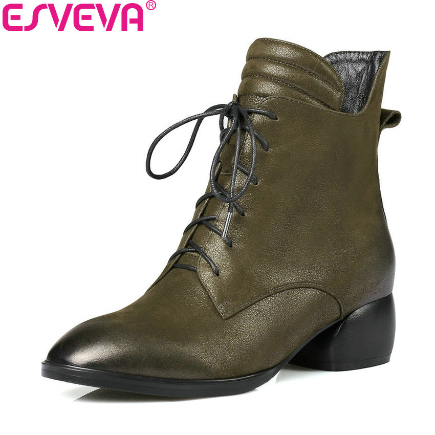 ESVEVA 2019 Women Shoes Round Toe Shoes Ankle Boots Zipper Square High Heels Cow Leather PU Autumn Solid Woman Shoes Size 34-42 hee grand women ankle boots for 2017 new autumn solid pu pumps shoes pointed toe high heels boot shoes woman size 35 43 xwx4253