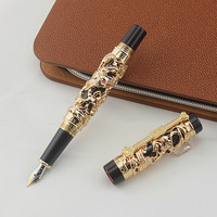 The Most Complete Gift JinHao Luxury Dragon Fountain Pen Vintage 18KGP 0.5MM Nib Ink Pens for Writing Stationery Office Supplies