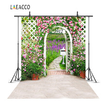 Laeacco Spring Garden Flowers Arch Door Scene Baby Photography Backgrounds Customized Photographic Backdrops For Photo Studio