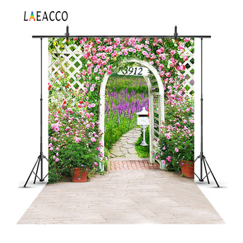 Laeacco Spring Garden Flowers Arch Door Scene Baby Photography Backgrounds Customized Photographic Backdrops For Photo Studio laeacco unicorn words baby children comic celebration party scene photographic backgrounds photography backdrop for photo studio