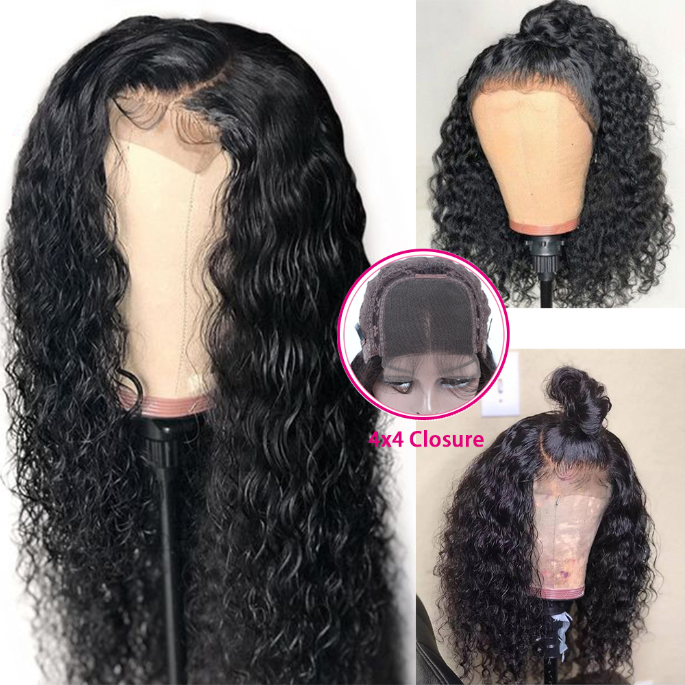 4 4 Deep Wave Lace Closure Human Hair Wigs Brazilian Remy Hair For Women 150 Density