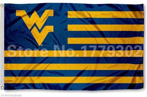 West Virginia University Flag 3 ' X 5 ' Fan bandera 150 X 90 CM bandera de cobre amarillo del metal agujeros NCAA Flag