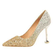 High Heels Classic Pumps Women Shoes Basic Red Slip-On Shallow Wedding  Party Pointed Toe Sexy Gradient Sequins Shoes DS-A0294 7a9f477706ec