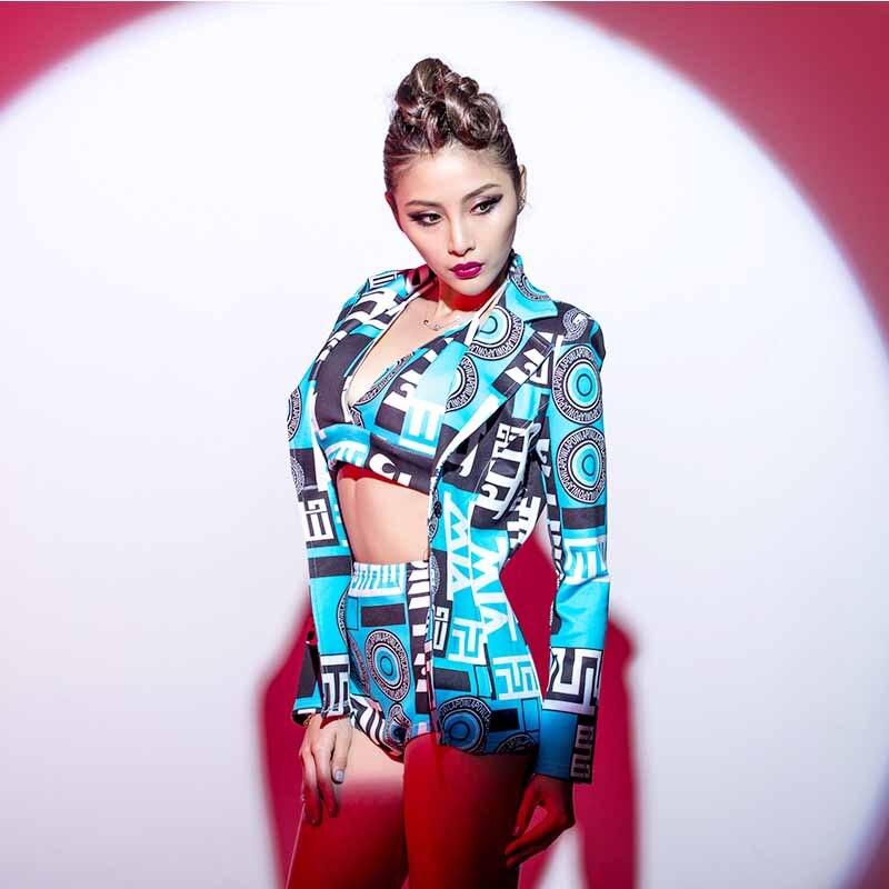 Nightclub Ds Costumes Female Cool Geometric Pattern Three Piece New Stage Costume Dj Jazz Hip Hop Hip Hop Dance Costume DWJ1001
