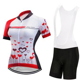 Kit roupas bicicleta do esporte feminino verão jardineiras manga curta conjunto camisa de ciclismo mtb bicicleta roupas maillot 2019 das mulheres vestido terno
