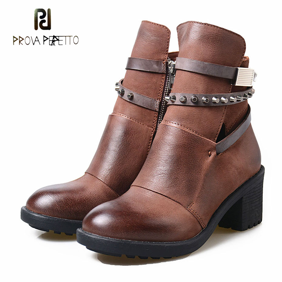 Prova Perfetto rivet studded belt buckle women knight boots side zippers do old genuine leather square heels short boots femalesProva Perfetto rivet studded belt buckle women knight boots side zippers do old genuine leather square heels short boots females