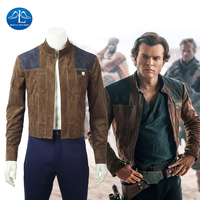 2018 Movie Solo A Star Wars Story Cosplay Han Solo Jacket Cosplay Men Halloween Brown Jacket Solo Cosplay Costume Custom Made