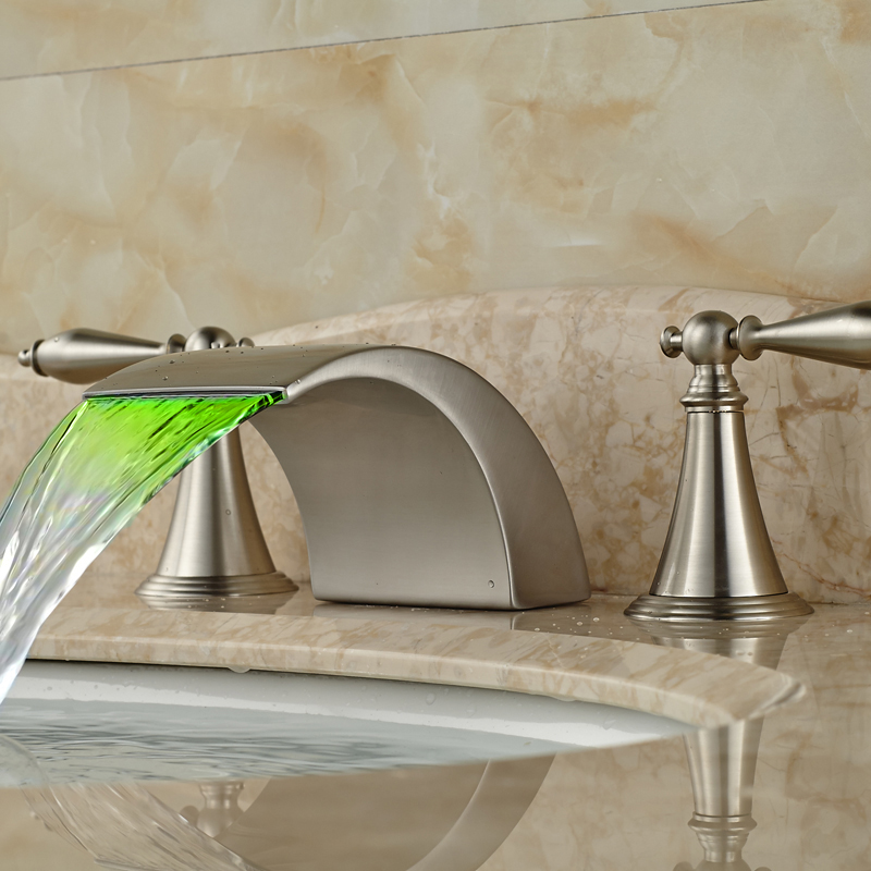 Newly Brushed Nickel Waterfall led Colour Changing Basin Faucet Dual Handle Bathroom Mixer Taps
