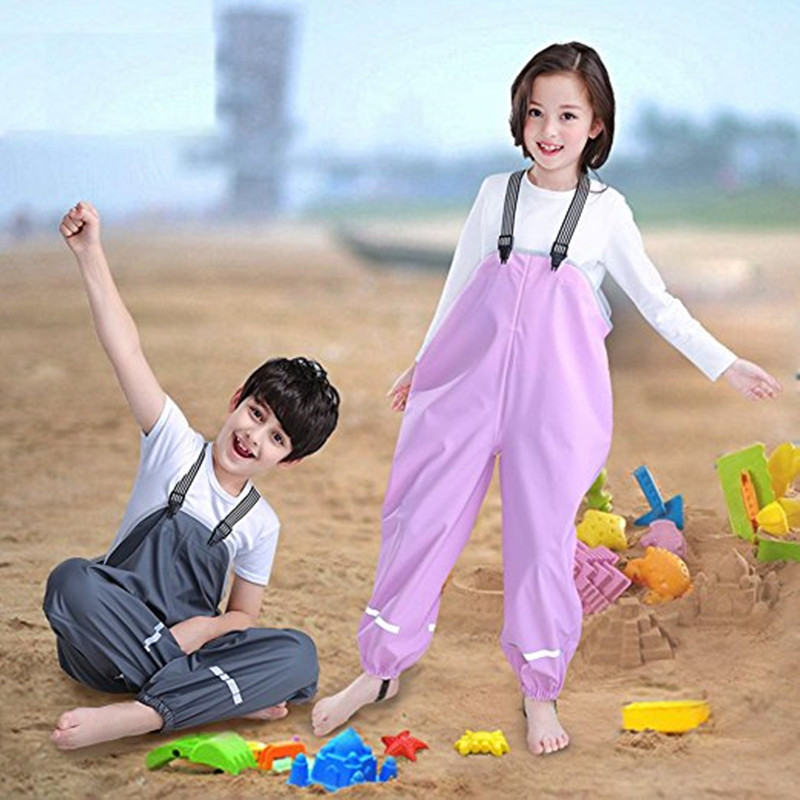 PU Waterproof Raincoat For Children Kids Girls And Boys Waterproof Rain Pants PU Straps Bib Overalls One Piece